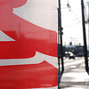 Flag Abstract.<br /> An advertising banner flag outside a Yakinuki Restaurant.