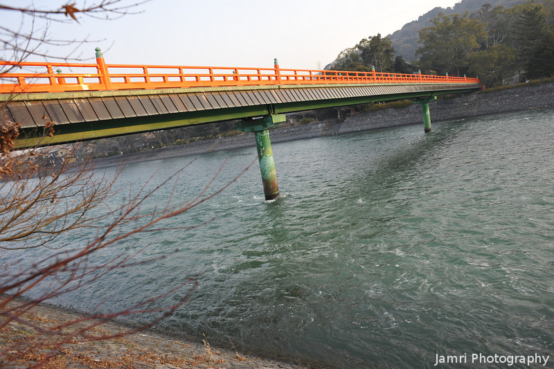 """Orange Bridge. Uji City, Kyoto Prefecture, Japan. Please see my <A href=""""http://jamri.smugmug.com/Non-Commercial/Not-for-Sale/16110337_9o6CM#1209534586_Ettgw"""">""""Not for Sale"""" gallery</A> for the photos of Byodoin Temple."""
