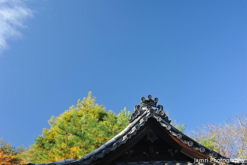 Temple Rooftop.<br /> In Okochi Sanso estate.