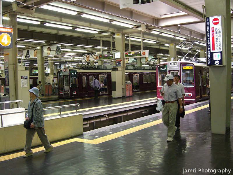 A Hankyu Umeda Station.<br /> Umeda is the main station for Hankyu in Osaka.<br /> Can you spot Darth Vader?