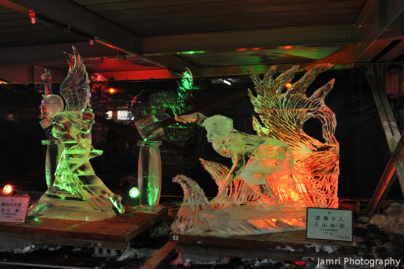 A few of the carvings.<br /> At the Mt. Rokko Ice Festival.