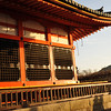 Temple Building in Golden Light.<br /> At Kiyomizu-dera (Kiyomizu Temple).