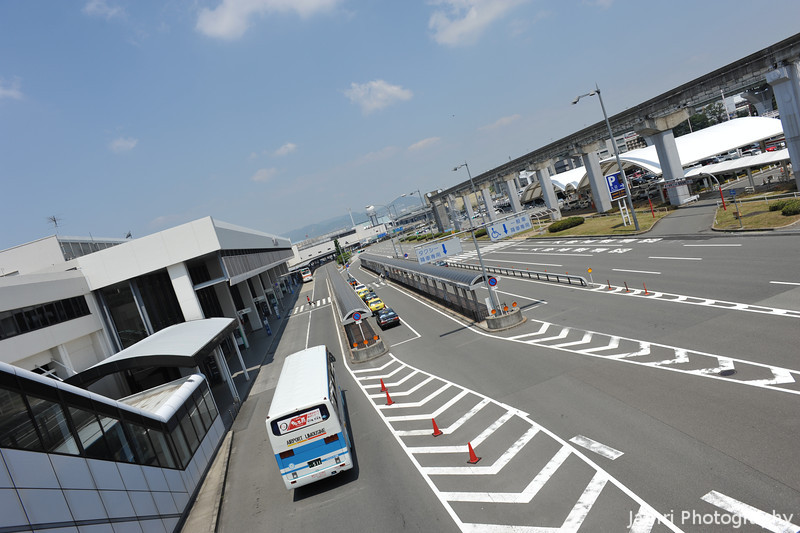 The wide roads outside Itami Airport.