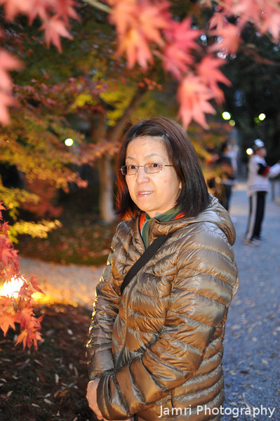 Ritsuko at the maple light up.<br /> In the Garden of Nagaokakyo Tenmangu Shrine Park.