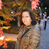 Ritsuko at the maple light up.<br /> In the Garden of Nagaokakyo Tenmangu Shrine Park.