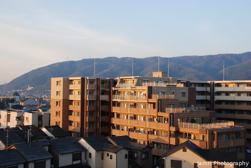 """""""Chairoi Mansion""""<br /> Chairoi is the adjective of the colour brown in Japanese. My friend who lives in this apartment block told me this is the nickname.<br /> Taken from on top of """"Fune Mansion"""" (an apartment block which looks like a ship, Fune is ship in Japanese)."""