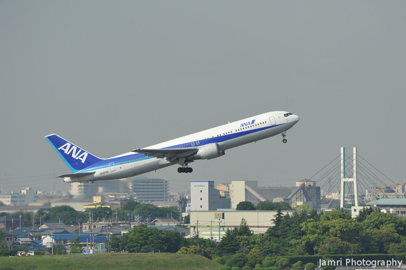 ANA Boeing 767 taking off.<br /> From Itami Airport in Osaka.