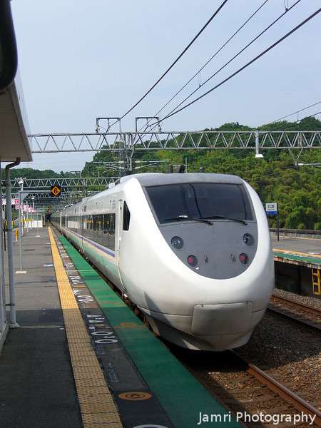 """Thunder Bird. This Limited Express train goes though Shiga on it's way from Toyama to Osaka. This is a regular train, not a Shinkansen, this train has a maximum speed of 160km/h (<A href=""""http://en.wikipedia.org/wiki/681_series"""">Wikipedia on 681 series</A>) Shinkansen can go up to 300km/h."""