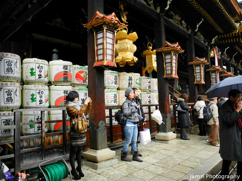 Near the Sake Barrels.<br /> These Sake Barrels are placed right by the alter of Kitano Tenmangu Shrine in Kyoto.