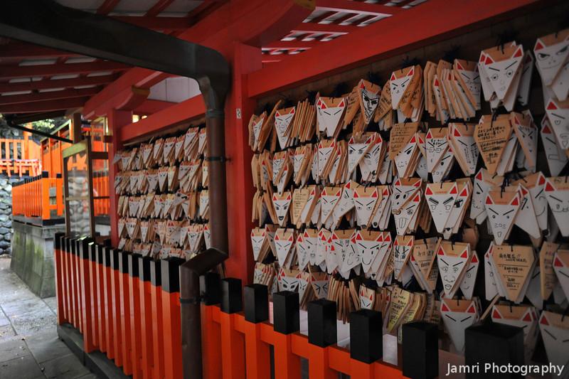 Fox Prayer Cards.<br /> People place prayers on fox shaped cards at Fushimi Inari-taisha.