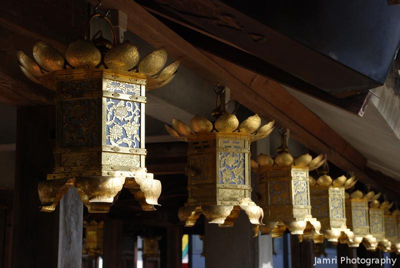 A Row of Lanterns.<br /> At Komyo-ji (a Buddhist Temple) in Nagaokakyo.