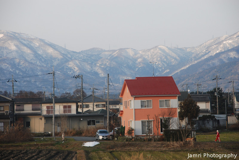 Towards the Orange House.<br /> A View of some of the winter scenery in Omi-Imazu.