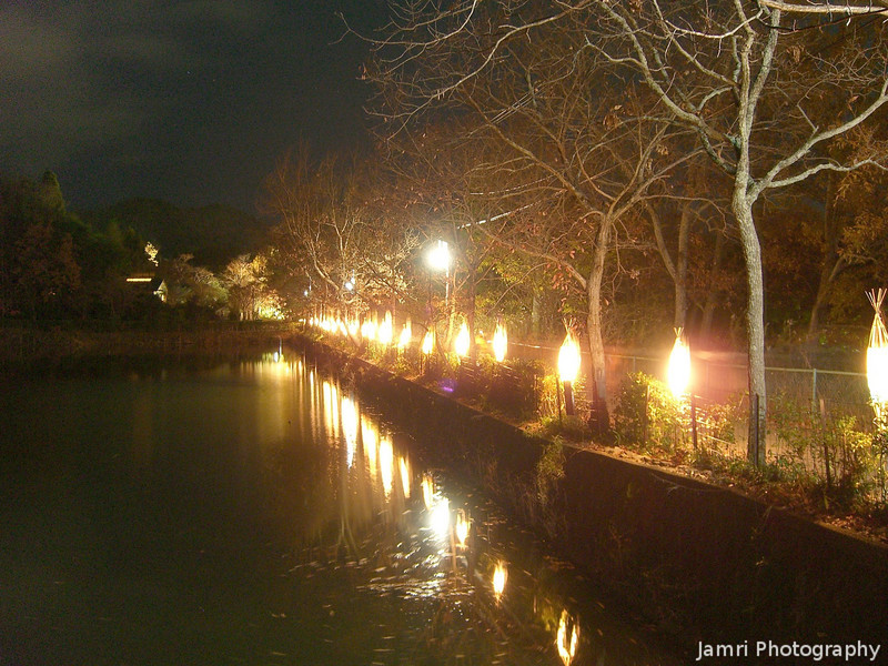 Lights along the Pond.<br /> At the Arashiyama Hanatouro in Kyoto.