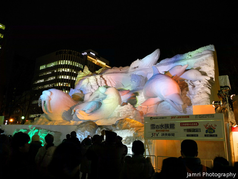 The first of the big snow sculptures.<br /> Some Ocean Creatures.