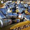 Cans for Recycling.<br /> It seems the neighbours have been drinking a lot of beers over the last two weeks!