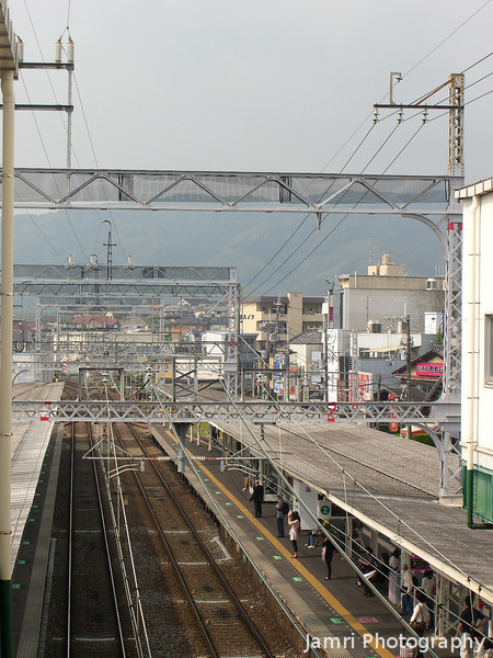 The view down the tracks from Hankyu Nagaoka Tenjin Station.