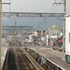 The view down the tracks from Hankyu Nagaoka Tenjin Station.