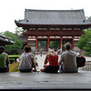 On the steps of Todaiji.<br /> Ritsuko sits with our visitors (the Walkers) on the steps of Todaiji for relief from the sweltering summer weather.