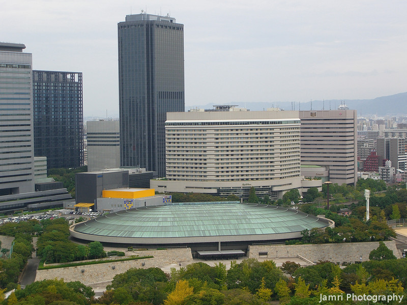 Towards Osaka-jo Hall and Business Park.<br /> This hall was the place where the Franklin Graham Festival was being held.