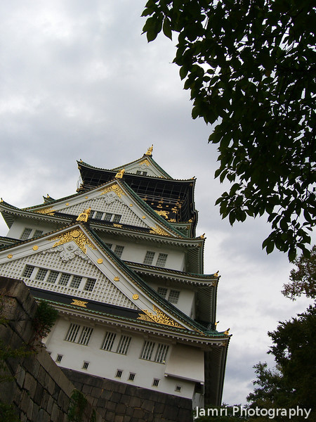 Up close to Osaka Castle.