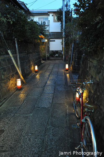 Bicycle on a stone street.