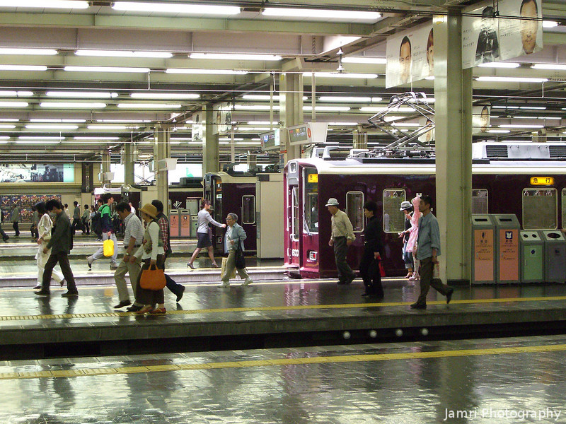 Across the Platforms.<br /> At Hankyu Umeda Station in Osaka.<br /> Can you spot Darth Vader?