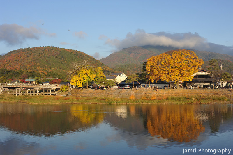 River Reflections.<br /> In Arashiyama, Kyoto.