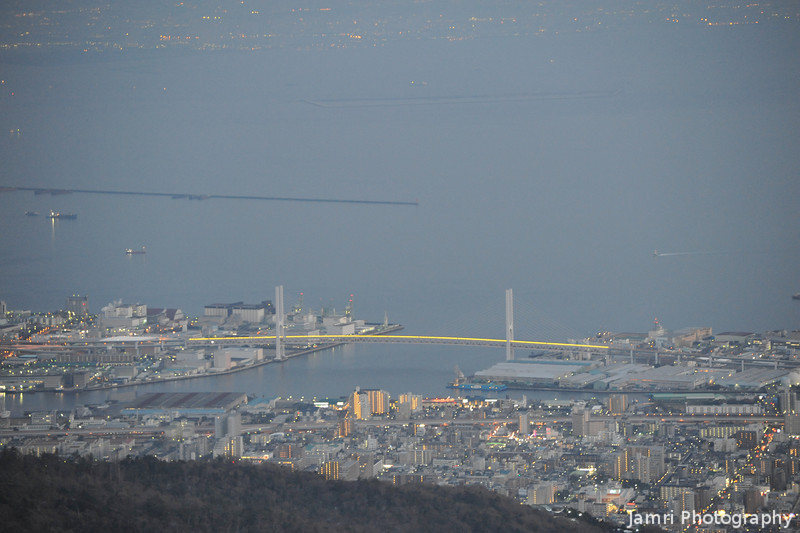 The Bridge and Distant City at top of Image.<br /> From Mt. Rokko near Kobe.