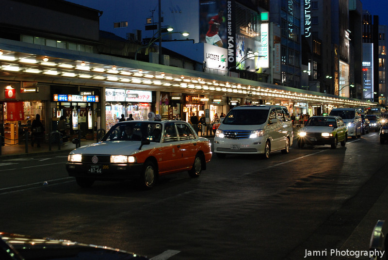 Night Traffic on Shijo Street.<br /> Kawaramachi, Kyoto.