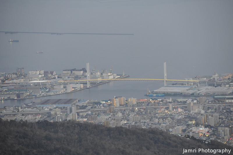 Towards a Bridge.<br /> From Mt. Rokko, near Kobe.