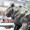 Guardian Lion.<br /> Outside the Gates of Yasaka-jinja (Yasaka Shrine) in Gion, Kyoto.
