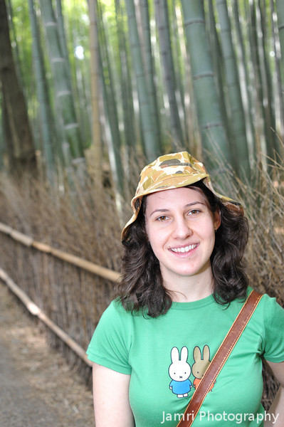Melissa in the Bamboo Forest.<br /> In Arashiyama, Kyoto.