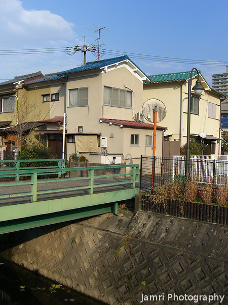 A green bridge and houses.<br /> More scenery from my new home town Nagaokakyo, Japan.
