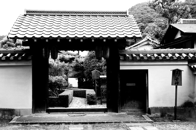 Temple Gateway.<br /> Near Tenryu-ji in Arashiyama, Kyoto.<br /> Note Film Shot: Nikon F80 + 50f/1.8 + Orange Filter + Fujifilm Neopan Acros