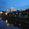 Along the Miyagawa river at night.<br /> In Hida Takayama, Gifu Prefecture, Japan.