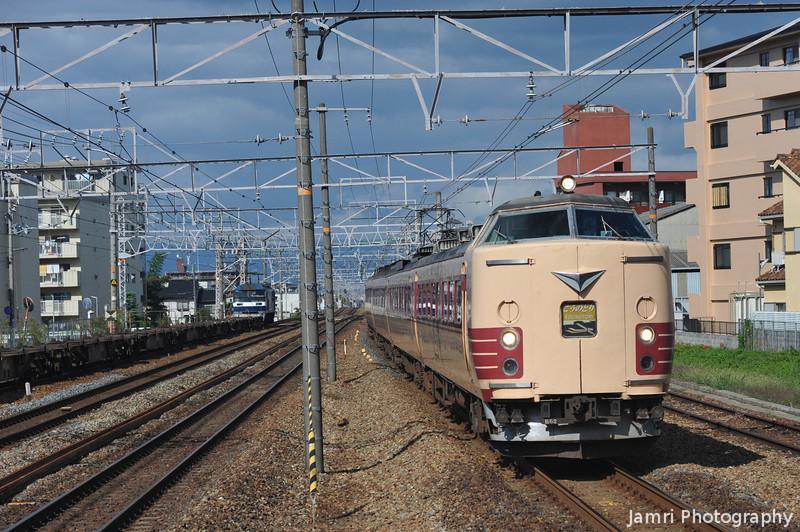 Kounotori Express.<br /> A 183 Series Train heading towards Shin-Osaka from the Muko-shi depot.