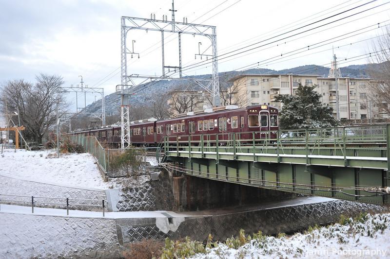 Hankyu Train on Snowy Day.
