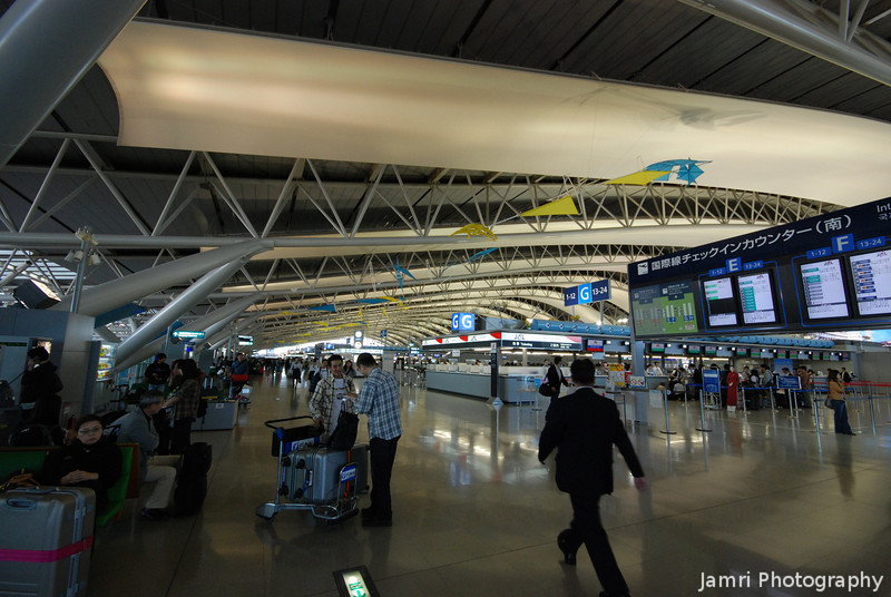 At the Centre of the Check in Counter Area.<br /> At Kansai Airport.