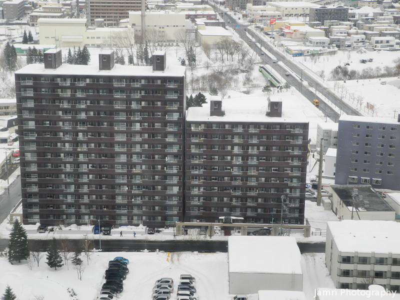 Apartment Block in Shinsapporo.<br /> From the room I was staying in the Sapporo Sheraton Hotel.