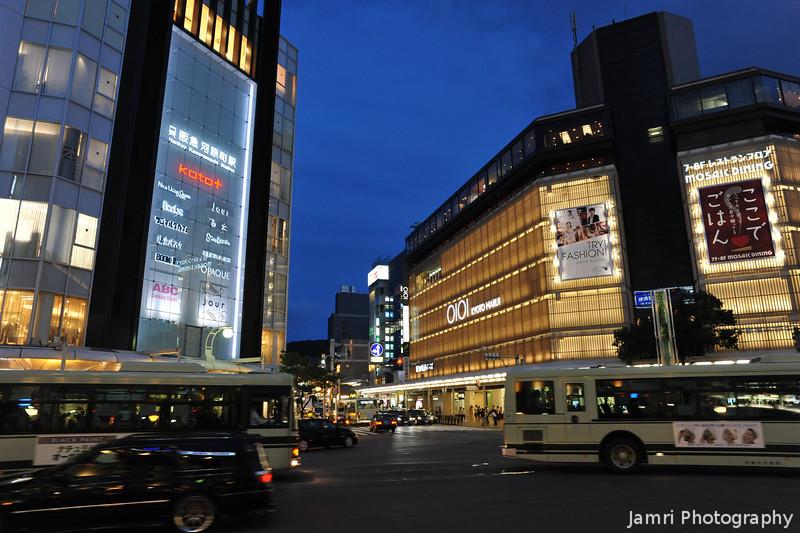 Shijo-Kawaramachi Intersection at Night.<br /> Kyoto, Japan.
