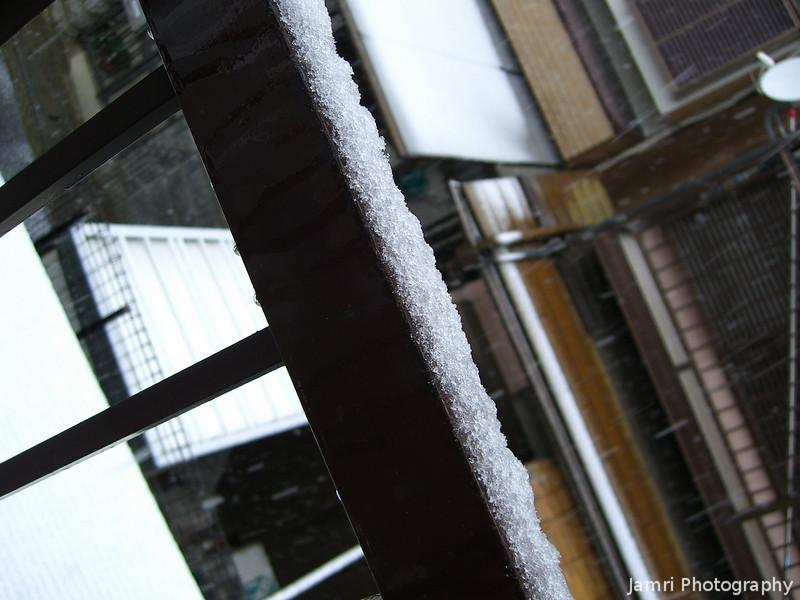 Accumulation on my back balcony railing.