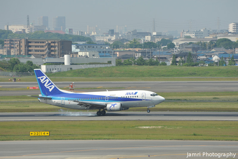 Touch down.<br /> An ANA 737-500 touches down at Itami Airport.