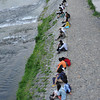 Along the bank of the Kamogawa (Kamo River).<br /> It's a popular spot to chill-out on a warm night, especially for couples.