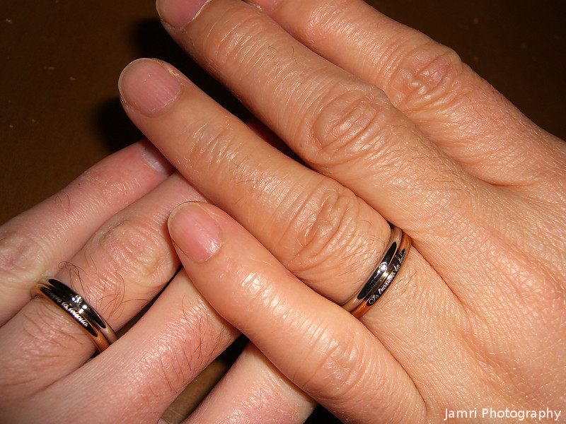 "The New Wedding Rings.<br /> My wedding ring broke in two places (probably where it was resized) and Ritsuko ring was too small. We took them to places in Japan and asked if they'd fix them but refused to fix rings made in other countries, saying the mix of gold and other metals is different from Japan. So we looked around for new rings, but most wedding rings in Japan cost 5x the rings in Australia, eventually we found a shop selling stainless steel ""fashion rings"" and after looking through the selection we opted for these matching rings."