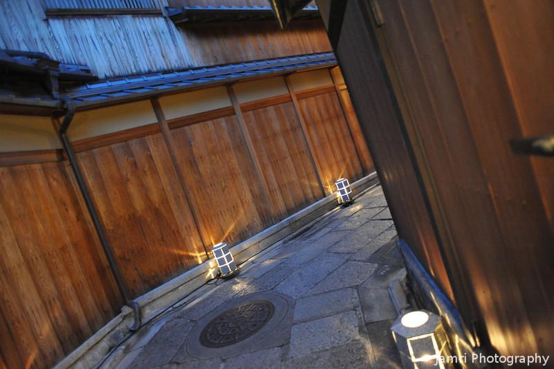 Shining Lanterns and Traditional Wooden Walls.<br /> During the 2011 Higashiyama Hanatouro in Kyoto.