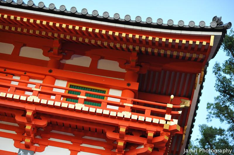 Detail of the Shrine Gate.<br /> Yasaka-jinja, Gion, Kyoto, Japan.