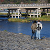 Romance at the Big Bridge.<br /> A couple share a romantic moment at the Big Bridge in Arashiyama, Kyoto.