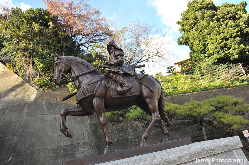 Samurai on a horse.<br /> Near Matsuyama Castle.