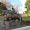 Samurai on a horse.<br /> Near Matsuyama Castle.