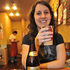 Kanpai! (Cheers!)<br /> Melissa samples a Yebisu beer from a ceramic cup at a Hiroshima-yaki restaurant in Hiroshima.